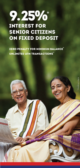 Fixed Deposit Interest at 9.25% for senior citizens
